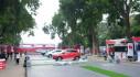 Dàn xe ô tô của VinFast tại Công viên Thống Nhất đã bỏ bạt che, chỉ chờ tới giờ G